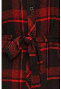 Czerwona sukienka Tommy Jeans z długim rękawem, prosta, na co dzień