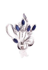 Braccatta - LIZA Srebrna broszka szafiry bukiet 2,2 ct.. Materiał: srebrne. Kolor: srebrny. Wzór: kwiaty, kolorowy. Kamień szlachetny: szafir