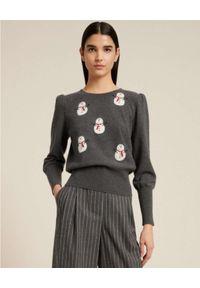 Luisa Spagnoli - LUISA SPAGNOLI - Szary sweter w świąteczny wzór CONI. Kolor: szary. Wzór: aplikacja. Styl: wizytowy