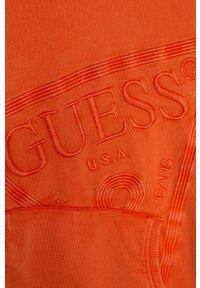 Pomarańczowa bluza Guess Jeans casualowa, z kapturem, na co dzień, z aplikacjami