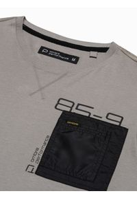 Ombre Clothing - Longsleeve męski z nadrukiem L130 - beżowy - XXL. Kolor: beżowy. Materiał: bawełna, tkanina. Długość rękawa: długi rękaw. Wzór: nadruk #6