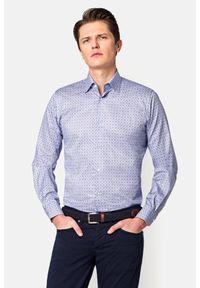 Lancerto - Koszula z Nadrukiem Cesaria. Materiał: bawełna, tkanina, jeans. Wzór: nadruk