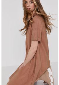 Beżowa sukienka Answear Lab wakacyjna, na co dzień, gładkie, z krótkim rękawem