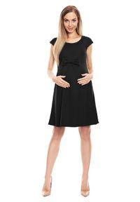 e-margeritka - Sukienka ciążowa na lato czarna - l/xl. Typ kołnierza: kokarda. Kolekcja: moda ciążowa. Kolor: czarny. Materiał: poliester, wiskoza, materiał. Wzór: aplikacja. Sezon: lato. Typ sukienki: rozkloszowane