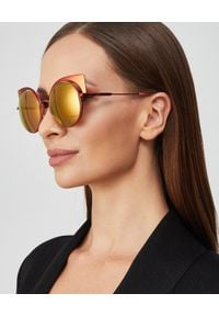 Fendi - FENDI - Pomarańczowe okulary przeciwsłoneczne. Kolor: pomarańczowy