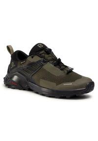 Zielone buty trekkingowe salomon Gore-Tex, z cholewką