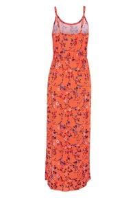 Długa sukienka z nadrukiem bonprix ciemnopomarańczowy z nadrukiem. Kolor: pomarańczowy. Materiał: wiskoza. Wzór: nadruk. Długość: maxi