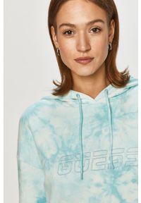 Niebieska bluza rozpinana Guess z kapturem, casualowa