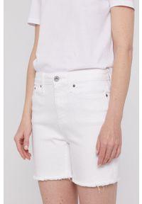 DKNY - Dkny - Szorty jeansowe. Kolor: biały. Materiał: jeans. Wzór: gładki