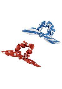 Gumki do włosów (2 części) bonprix niebieski + czerwony cynamonowy