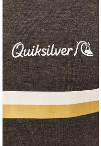 Szara bluza rozpinana Quiksilver z nadrukiem, na co dzień, casualowa, z kapturem