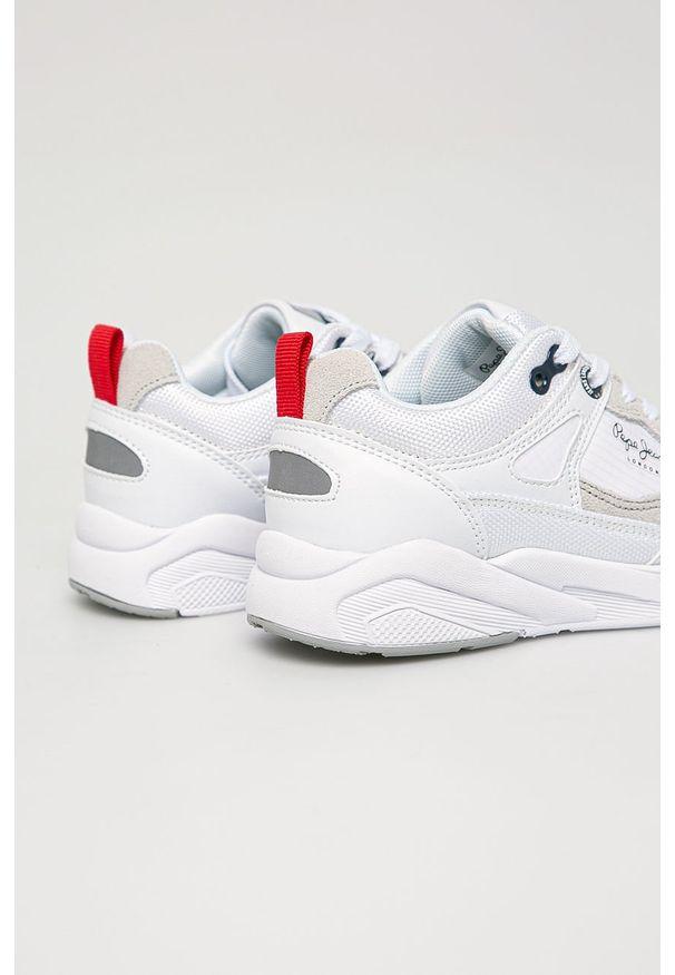 Białe buty sportowe Pepe Jeans z okrągłym noskiem, na sznurówki