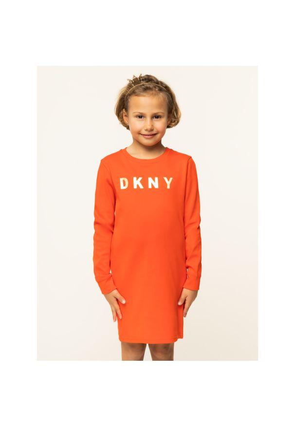 Pomarańczowa sukienka DKNY prosta, na co dzień, casualowa