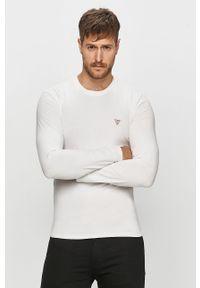 Biała koszulka z długim rękawem Guess Jeans casualowa, na co dzień