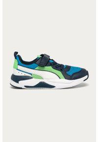 Niebieskie buty sportowe Puma z okrągłym noskiem, z cholewką, na rzepy