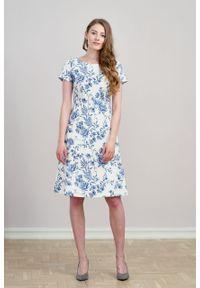 Marie Zélie - Sukienka Asteria Credula. Materiał: bawełna, skóra, materiał, elastan. Wzór: gładki. Typ sukienki: trapezowe. Styl: klasyczny
