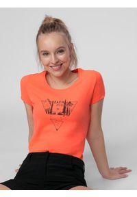4f - T-shirt damski. Kolor: pomarańczowy. Materiał: włókno, dzianina, materiał