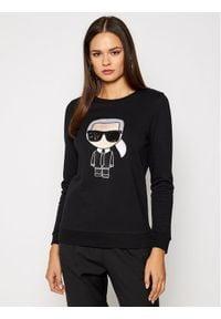 Karl Lagerfeld - KARL LAGERFELD Bluza Ikonik 205W1801 Czarny Regular Fit. Typ kołnierza: dekolt w karo. Kolor: czarny
