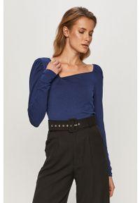 Niebieska bluzka z długim rękawem Vero Moda z dekoltem karo, casualowa, na co dzień