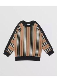 BURBERRY CHILDREN - Bawełniana bluza w paski 3-10 lat. Okazja: na co dzień. Kolor: czarny. Materiał: bawełna. Długość rękawa: długi rękaw. Długość: długie. Wzór: paski. Sezon: lato. Styl: elegancki, casual, sportowy