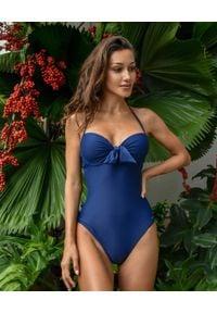 CAHA CAPO - Granatowy strój jednoczęściowy Shania. Kolor: niebieski. Materiał: tkanina, materiał
