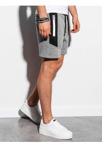 Ombre Clothing - Krótkie spodenki męskie dresowe W240 - szary melanż - XXL. Kolor: szary. Materiał: dresówka. Długość: krótkie. Wzór: melanż
