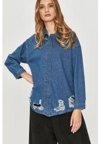 Niebieska koszula Answear Lab z klasycznym kołnierzykiem, z długim rękawem, długa, wakacyjna