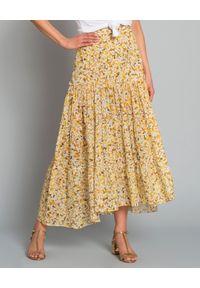ON THE ISLAND - Spódnica maxi Kaupoa. Okazja: na co dzień. Kolor: żółty. Materiał: bawełna. Wzór: kwiaty, aplikacja, nadruk. Styl: wakacyjny, elegancki, casual