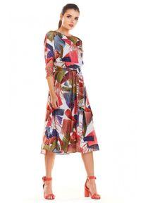 Infinite You - Wzorzysta sukienka z szarfą do przewiązania w pasie. Materiał: materiał, elastan