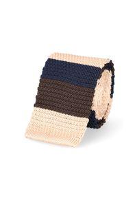 Beżowy krawat Lancerto na co dzień, w kolorowe wzory