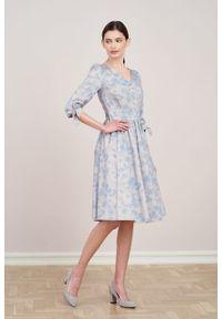 Marie Zélie - Sukienka Odette Tarsia błękitna. Kolor: niebieski. Materiał: bawełna, satyna, skóra, materiał