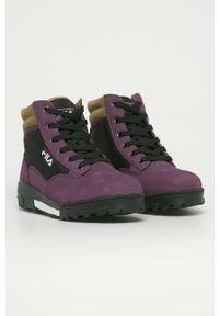 Fioletowe buty sportowe Fila na sznurówki, z cholewką, z okrągłym noskiem