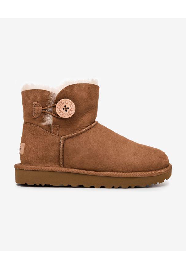 Brązowe buty zimowe Ugg z okrągłym noskiem, bez zapięcia