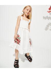 ZIMMERMANN KIDS - Biała sukienka z haftem 0-10 lat. Kolor: biały. Materiał: bawełna. Długość rękawa: na ramiączkach. Wzór: haft. Sezon: lato