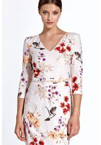 Sukienka koktajlowa prosta, w kwiaty