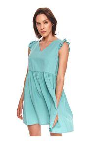 TOP SECRET - Krótka sukienka z falbankami na rękawach. Typ kołnierza: kołnierz z falbankami. Kolor: turkusowy. Typ sukienki: koszulowe. Długość: mini