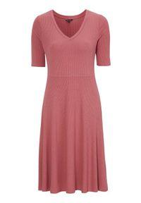 Happy Holly Prążkowana sukienka dżersejowa z krótkim rękawem Lindsey ciemnoróżowy female różowy/fioletowy 44/46. Typ kołnierza: dekolt w serek. Kolor: różowy, wielokolorowy, fioletowy. Materiał: jersey, prążkowany. Długość rękawa: krótki rękaw