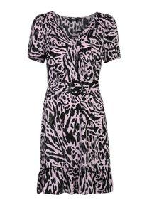 Różowa sukienka TOP SECRET z krótkim rękawem, z dekoltem w kształcie v