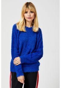 Niebieski sweter MOODO z okrągłym kołnierzem, długi, klasyczny