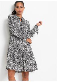 Szara sukienka bonprix elegancka, koszulowa, z nadrukiem