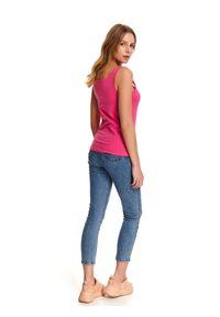 Różowy t-shirt TOP SECRET wakacyjny, na ramiączkach, na lato