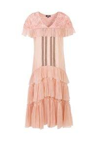 BY CABO - Sukienka jedwabna Catelyn blush. Okazja: na randkę. Kolor: wielokolorowy, fioletowy, różowy. Materiał: jedwab. Długość rękawa: krótki rękaw. Wzór: aplikacja, koronka. Styl: boho. Długość: maxi