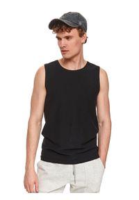 TOP SECRET - T-shirt bez rękawów męski gładki. Kolor: czarny. Materiał: bawełna, tkanina, jeans. Długość rękawa: bez rękawów. Długość: długie. Wzór: gładki. Styl: sportowy, klasyczny