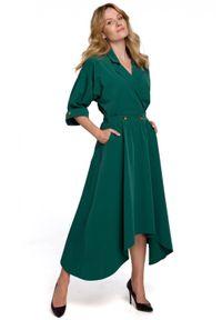 Makover - Asymetrycznie rozkloszowana dołem żakietowa sukienka. Materiał: elastan. Typ sukienki: asymetryczne, kopertowe