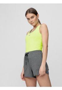 4f - Top treningowy damski. Kolor: zielony. Materiał: dzianina. Długość rękawa: bez rękawów. Sport: fitness