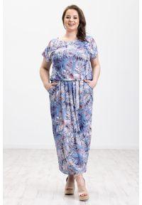 Niebieska sukienka Moda Size Plus Iwanek na lato, oversize