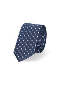 Lancerto - Krawat Granatowy Wzór Geometryczny. Kolor: niebieski. Materiał: tkanina, mikrofibra. Wzór: geometria. Styl: klasyczny