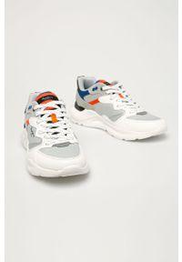 Białe sneakersy Pepe Jeans z cholewką, na sznurówki, z okrągłym noskiem