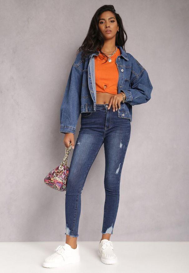 Renee - Niebieskie Jeansy Skinny Timyllis. Stan: podwyższony. Kolor: niebieski. Długość: długie. Wzór: aplikacja