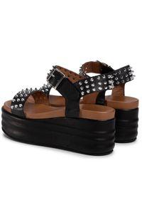 Czarne sandały Eva Minge z aplikacjami, na co dzień
